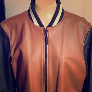 Men Coach Leather Bomber Jacket